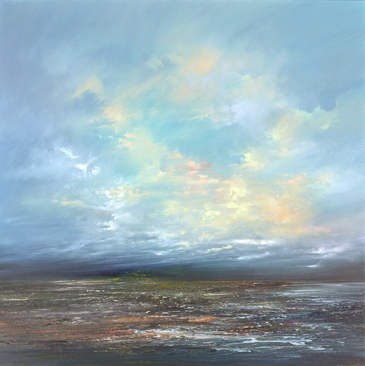 After the Rain I by Philip Raskin -  sized 39x39 inches. Available from Whitewall Galleries
